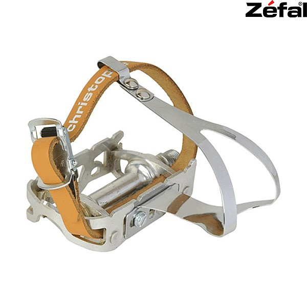 New BIKE Pedal STEEL TOE CLIPS /& LEATHER STRAPS US SELLER Medium - White