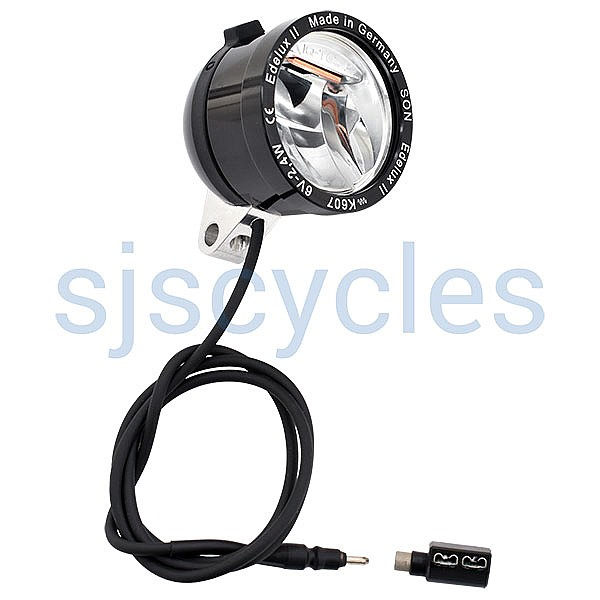 SON Edelux II High Power LED Headlight w/ Coaxial Adapter - Black Anodized - 60 cm