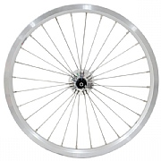 16 349 SON Front Wheel 28h Brompton Rim with SON XS Slotted Dynohub - Semi Radial - Silver / Polished