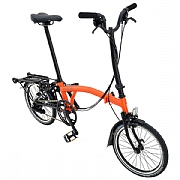 Brompton H6R 2018 Black Edition Folding Bike - Orange/Black