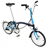 Brompton M3L Folding Bike - Tempest Blue / Lagoon Blue